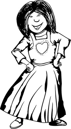 Outline of female with happy expression on white background