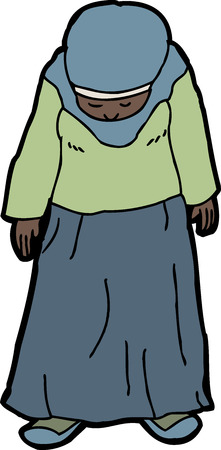 Cartoon of sad Muslim woman looking down Çizim