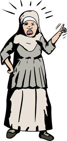 dedo �ndice: Caricatura de gritar mujer musulmana asi�tica apuntando con su dedo