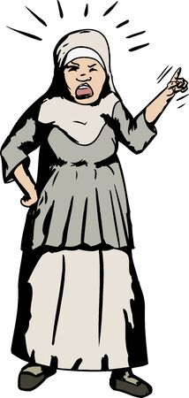 index finger: Cartoon of shouting Asian Muslim woman pointing her finger
