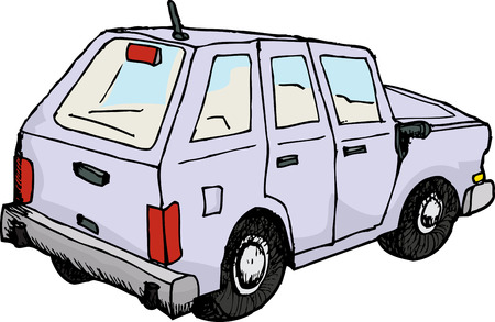 rear view: Rear view of sketched automobile over white background