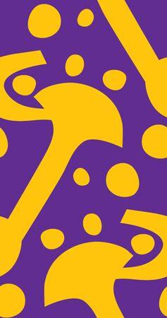 alternating: Seamless alternating circles and hooks over purple