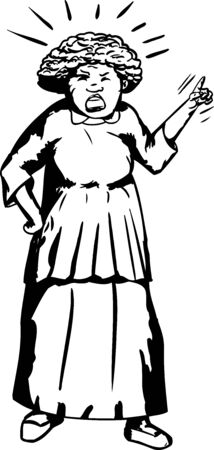 Outline cartoon of senior woman shouting and pointing finger Stock Illustratie