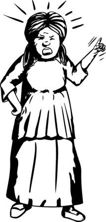 dedo indice: Esquema de la mujer ultrajada dedo índice apuntando