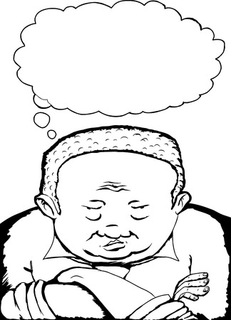 disapproving: Outline cartoon of heavyset African man with folded arms Illustration
