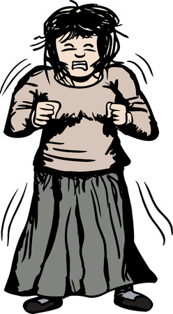 Illustration of trembling furious woman with clenched fists