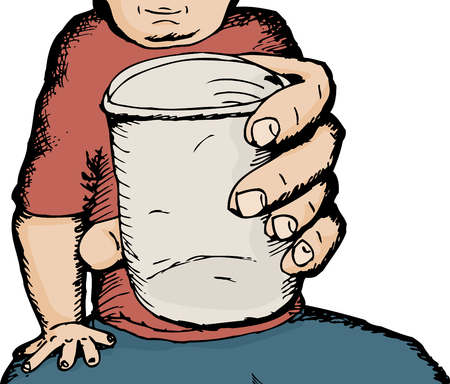someone: Close up of man giving someone a cup