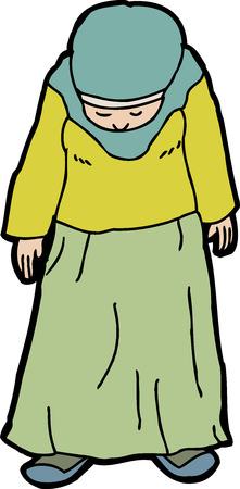 looking down: Cartoon of single Muslim woman looking down Illustration