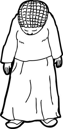 cornrows: Esquema de la mujer deprimida con el pelo trenzado en el fondo aislado
