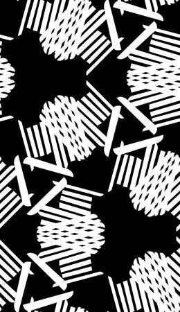 Symmetrical white lines in seamless kaleidoscope pattern