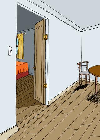 Open Bedroom Door And Dining Area Background Royalty Free Cliparts Cool How To Open A Bedroom Door