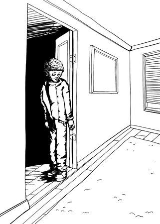 bashful: Outline of teenager standing in doorway of empty room with window and carpet