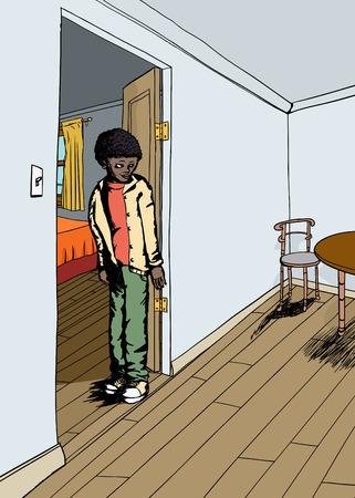 one bedroom: Cartoon illustration of teen standing between rooms