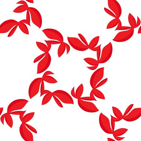 red leaves: Seamless pattern of red leaves as over white Illustration