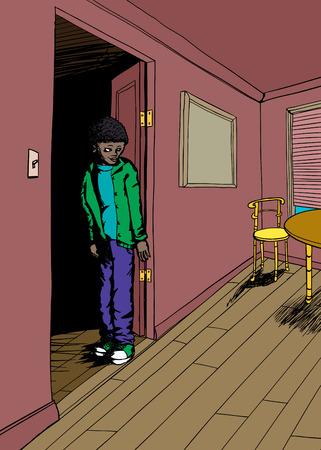 doorway: Cheerful youth standing in doorway of room with window and carpet