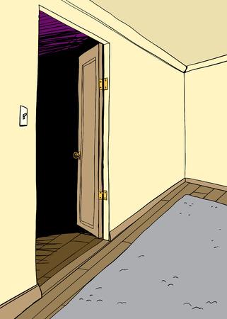 rug: Empty cartoon room with rug and open door
