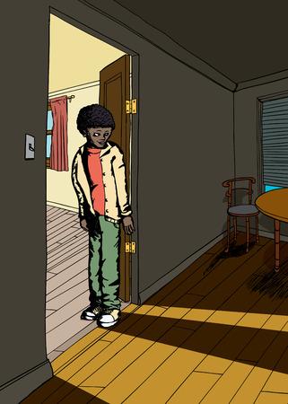 grinning: Shadow of grinning teen male in doorway between rooms