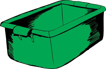 Doodle cartoon of single open green crate