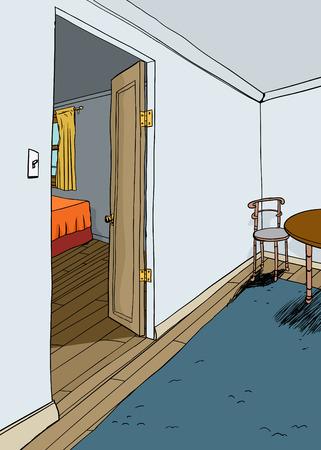 Illustratie van de slaapkamer open deur met meubels Stock Illustratie