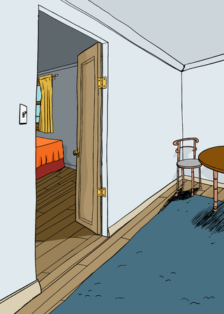 Illustration of bedroom open door with furniture