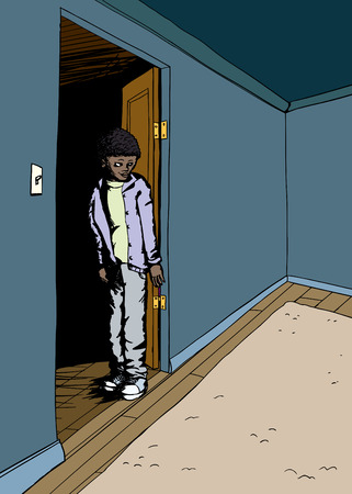 young male: Cartoon of grinning young male standing in doorway