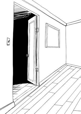 portone: Schema di stanza con porta buia e cornice