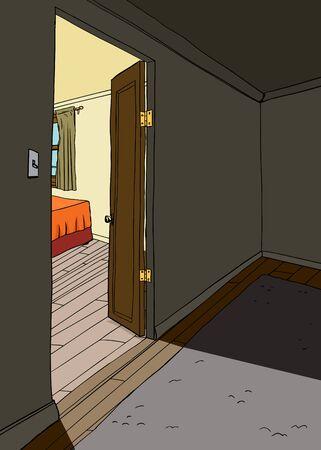 bed room: Cartoon background of light in bedroom in doorway