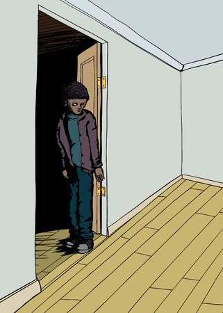 skeptical: Frowning teenager standing under doorway in empty room Illustration