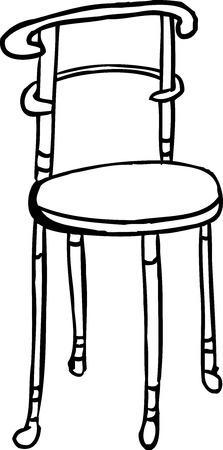 白い背景の輪郭を描かれた隔離された椅子の漫画