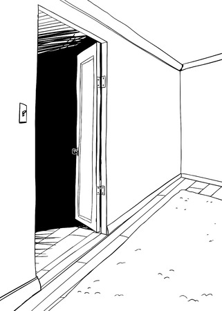 Outline of empty cartoon room with rug and open door Illusztráció