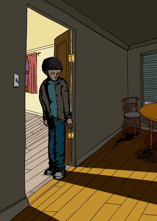 skeptical: Shadow of single teen male in doorway between rooms Illustration