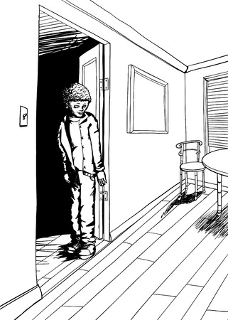 Outline of teenager in doorway of room with window and carpet