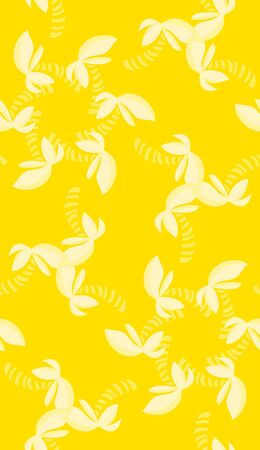 Tropical shapes in repeating kaleidoscope pinwheels over yellow