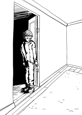 intimidated: Outline of scared teenager standing in doorway of room Illustration