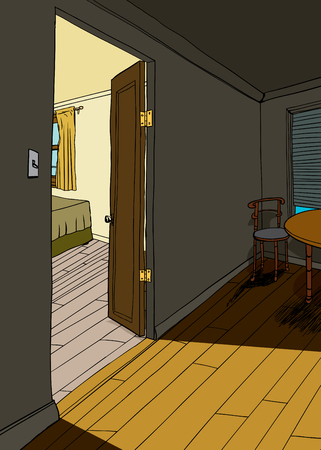 Background illustration of light coming through doorway Illustration