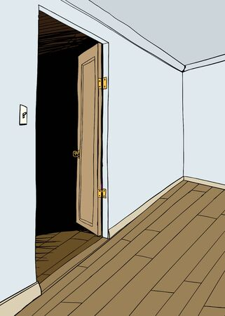 Background illustration of empty room with open door
