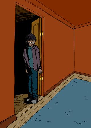 offended: Single scared teenager standing in doorway of room