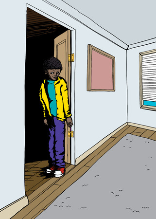 doorway: Smiling teen in doorway of room with window and carpet