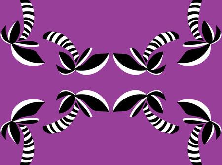 Purple pattern of reflecting palm tree shapes