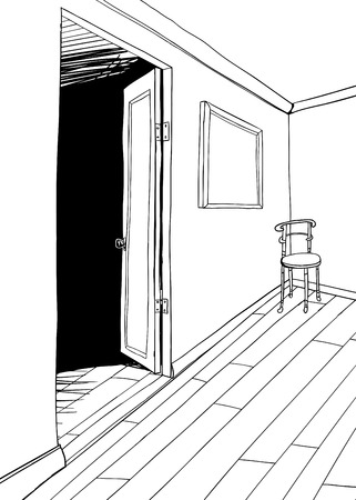 Background outline drawing of room with chair in corner 向量圖像
