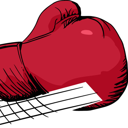 close out: Single isolated cartoon boxing glove in motion Illustration