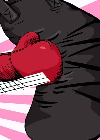 punching bag: Cartoon illustration of boxing glove hitting a punching bag Illustration