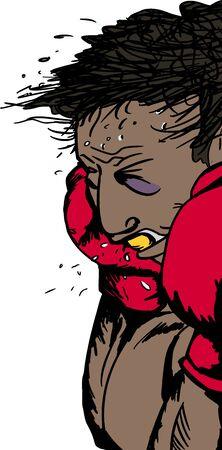 действие: Иллюстрация травмированной латиноамериканского боксера в действии