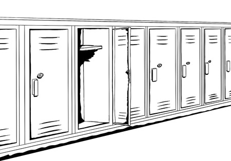 drawn metal: Outline background cartoon of empty locker in hallway