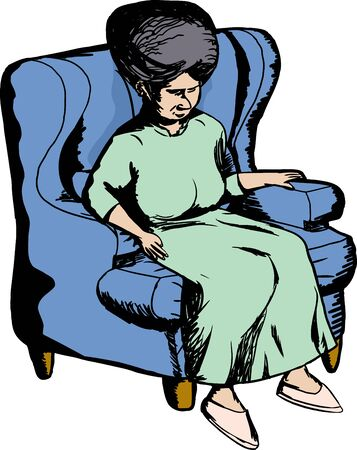 middle aged woman: Single older woman sitting in blue sofa chair