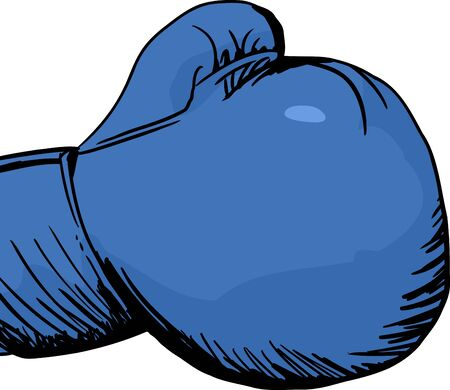 boxing glove: Hand drawn cartoon of a single blue boxing glove