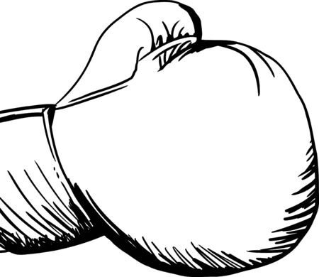 punched out: Outilned boxing glove illustration over white background Illustration