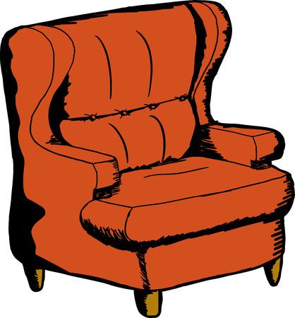 naranja caricatura: Silla de dibujos animados Sola naranja sobre fondo aislado
