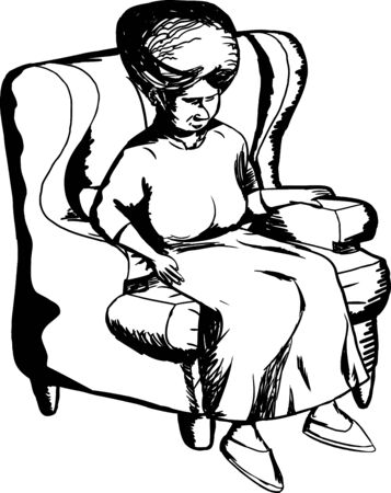 middle aged woman: Outline cartoon of mature woman sitting in chair Illustration