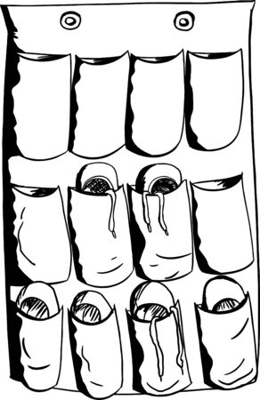 outs: Cartoon outline of various shoes in an organizer